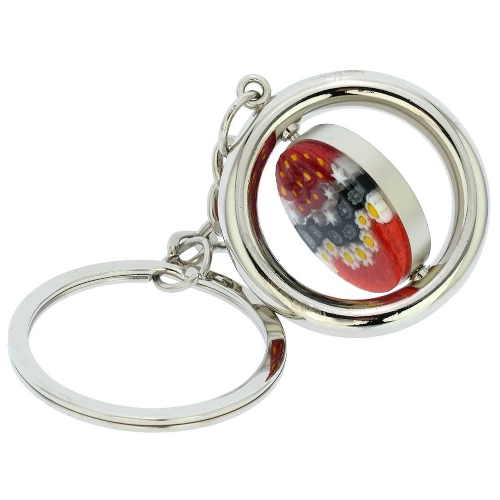Murano Millefiori Disk Keychain - Red