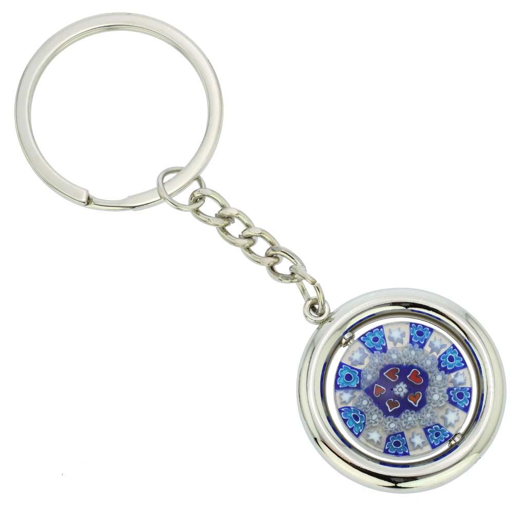 Murano Millefiori Disk Keychain - Blue