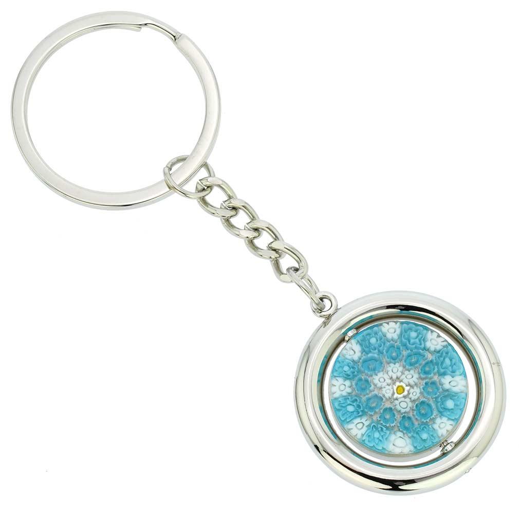 Murano Millefiori Disk Keychain - Aqua