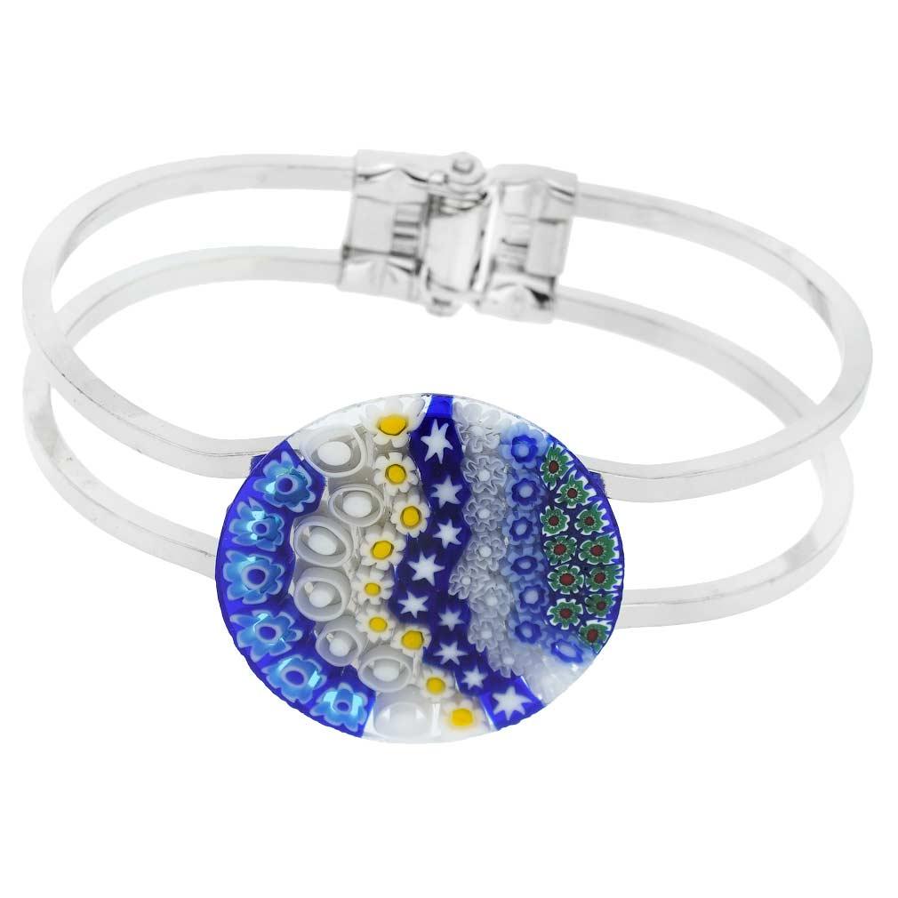 Venetian Reflections Metal Bracelet - Blue Millefiori