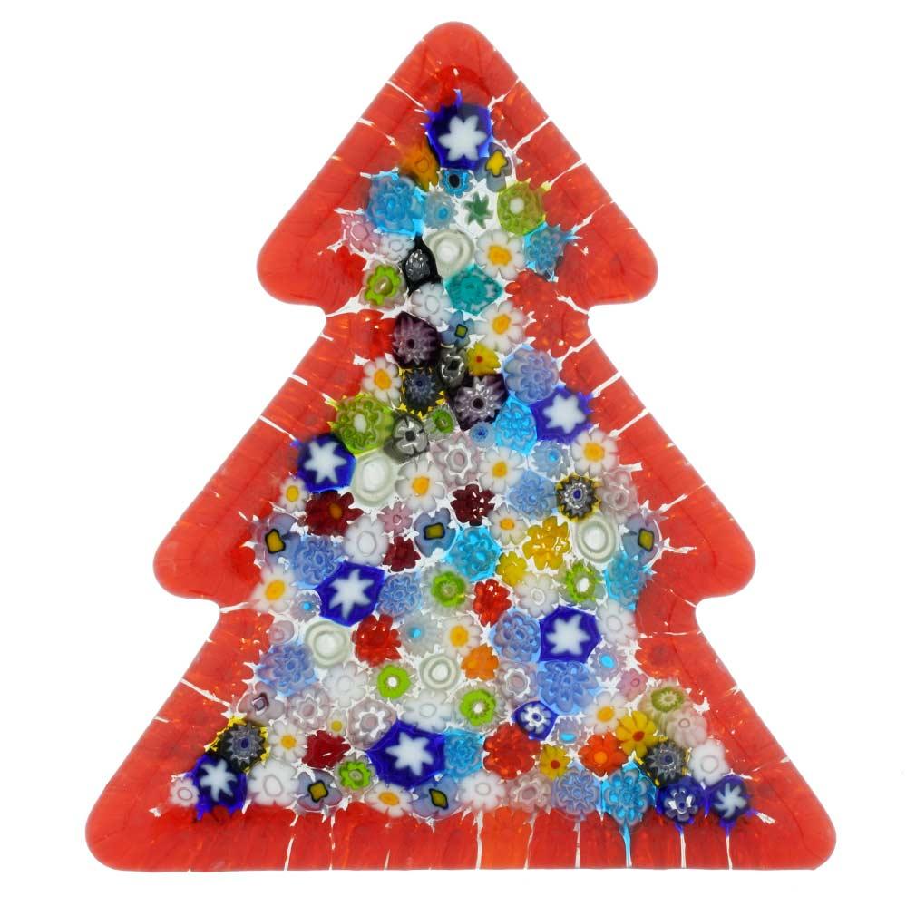 Murano Glass Millefiori Christmas Tree Standing Sculpture - Red
