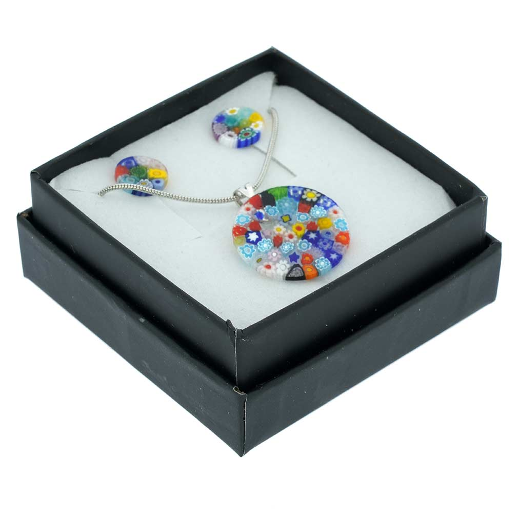 Murano Glass Millefiori Necklace and Earrings Set - Round Multicolor