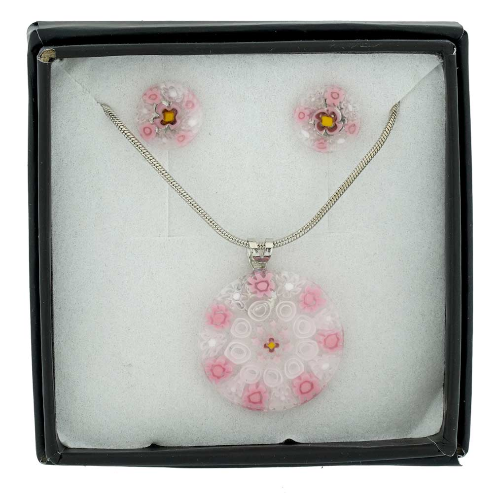 Murano Glass Millefiori Necklace and Earrings Set - Round Pink