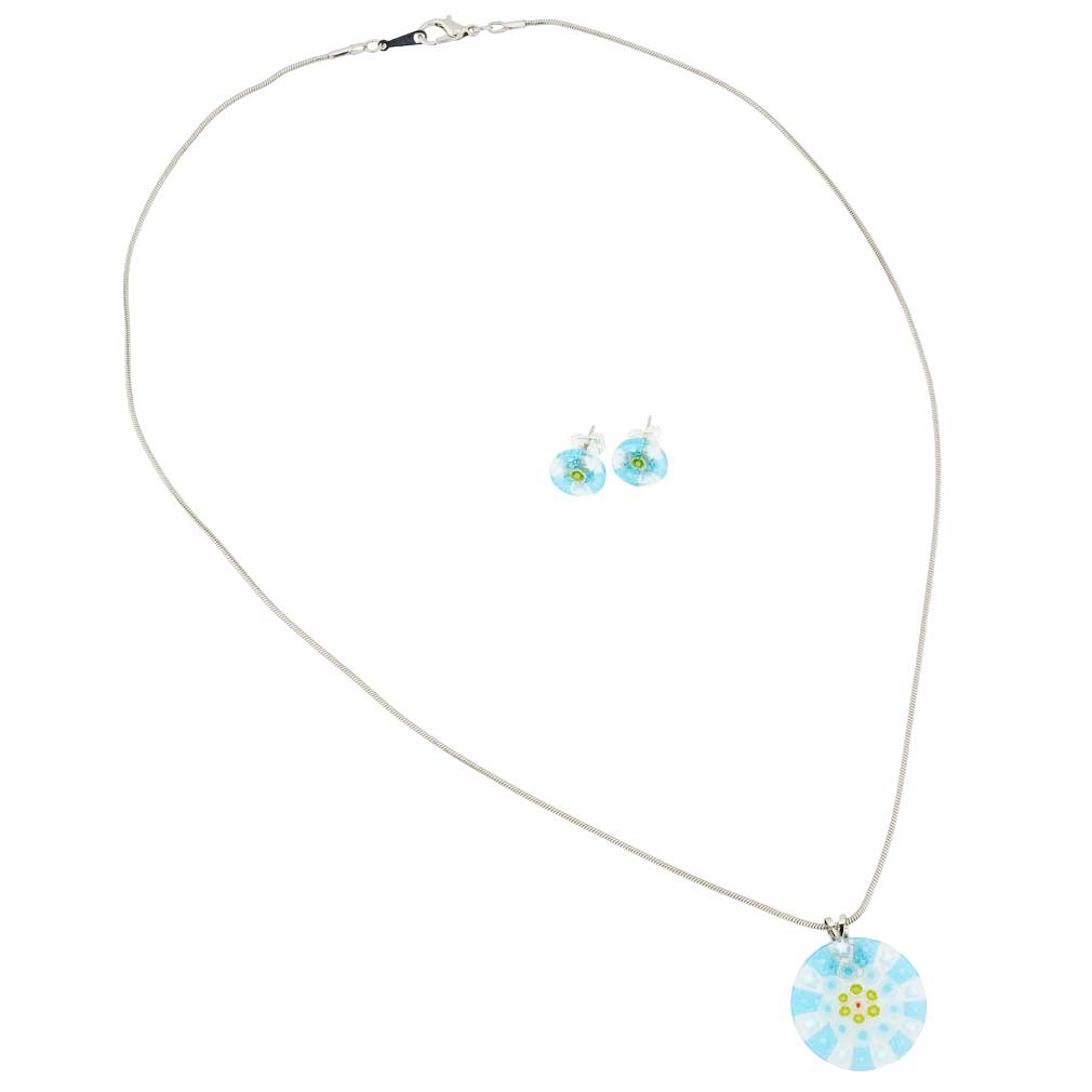 Murano Glass Millefiori Necklace and Earrings Set - Round Aqua Blue