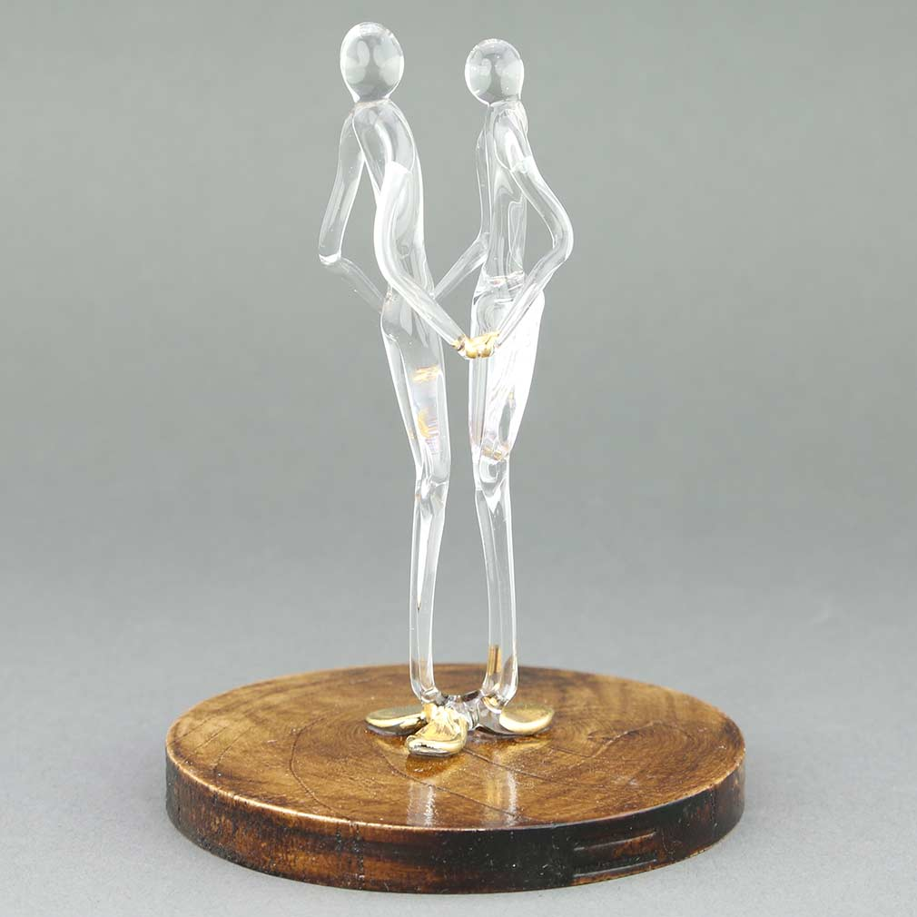 Murano Glass Lovers Statue on a Base - Clear Gold