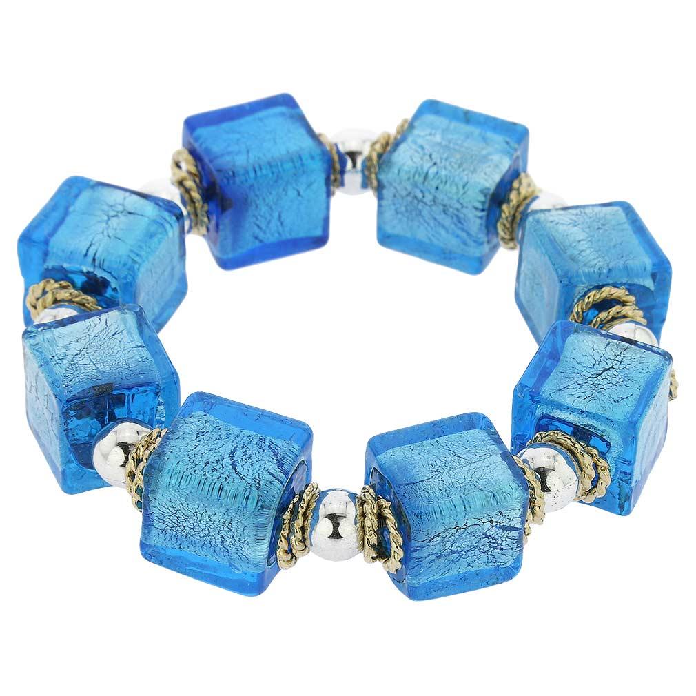 Brillio Venetian Cubes Bracelet - Aqua Blue