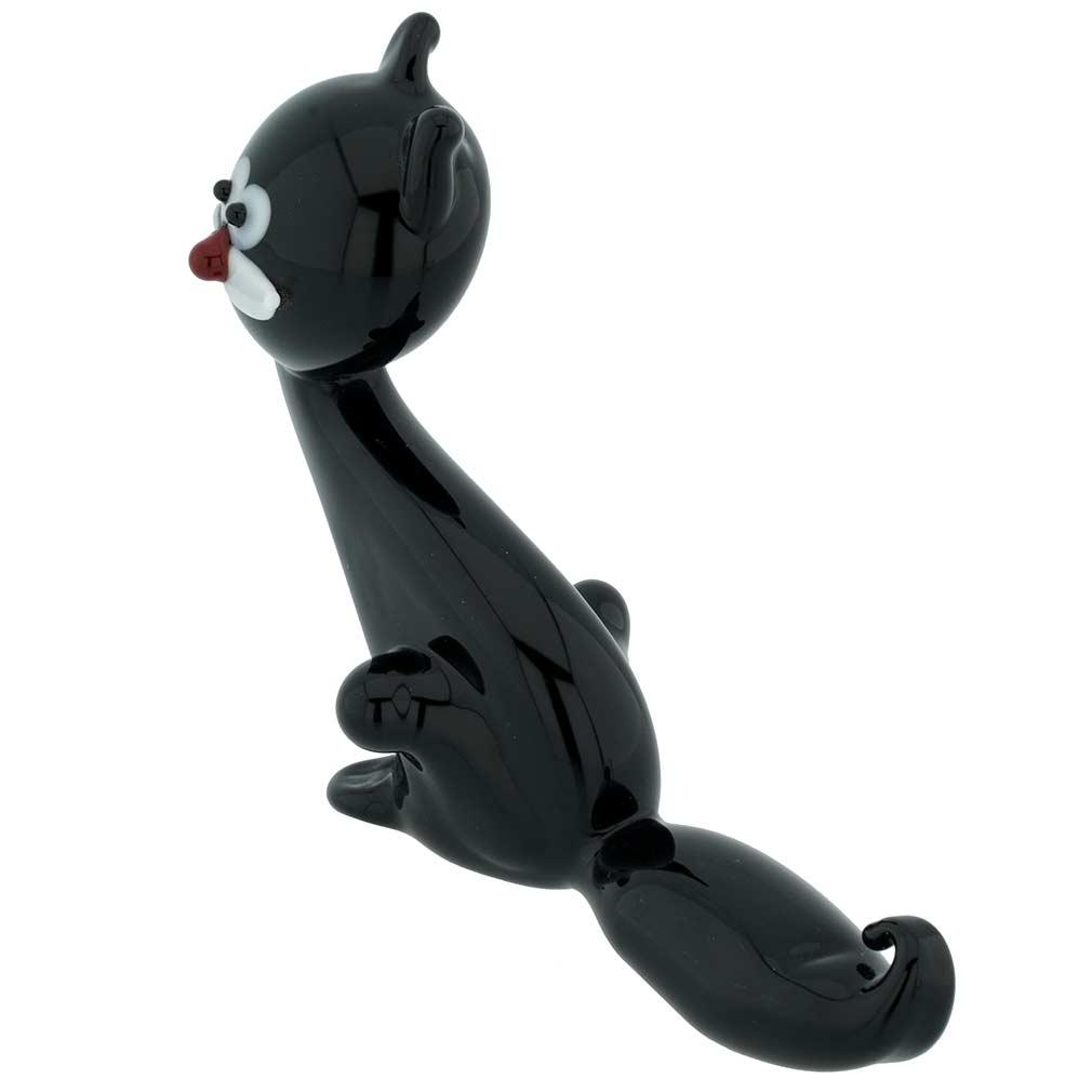 Murano Glass Black Venetian Cat