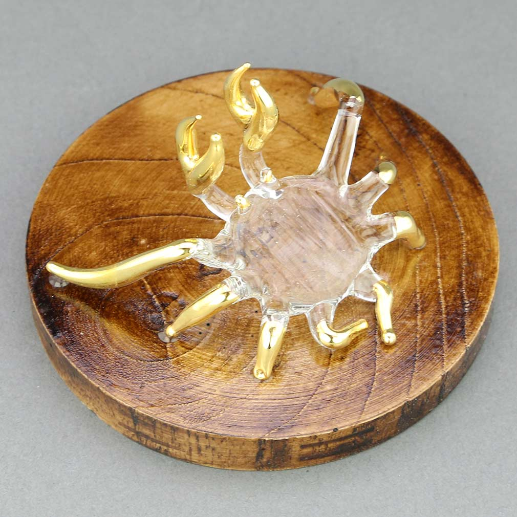 Murano Glass Crab on a Base - Clear Gold