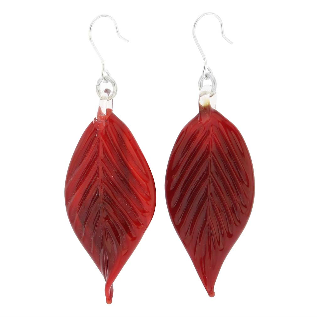 Murano Red Leaf Earrings
