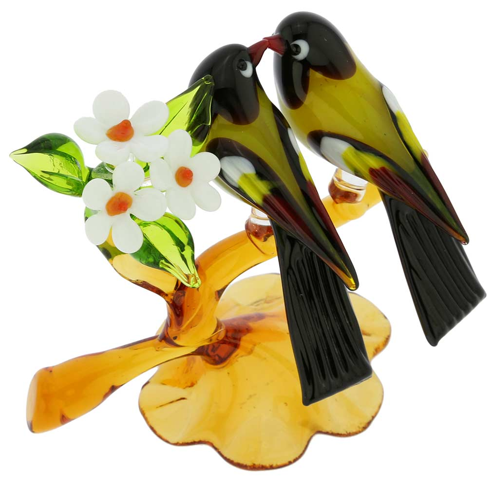 Murano Glass Birds On A Low Branch - Mustard Yellow