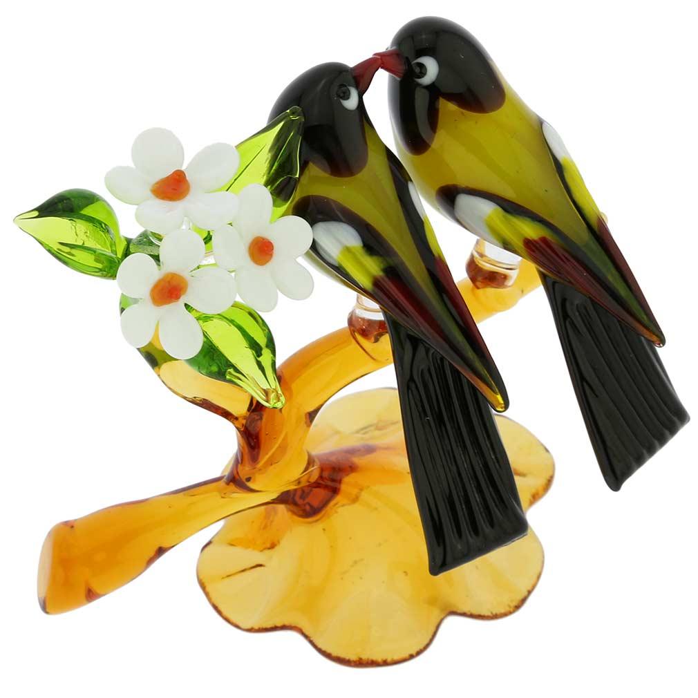 Murano Glass Birds On A Low Branch - Mustard Yellow