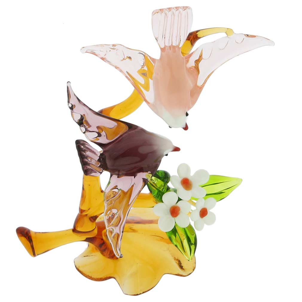 Murano Glass Birds On a Tree With Flower - Amethyst and Pink