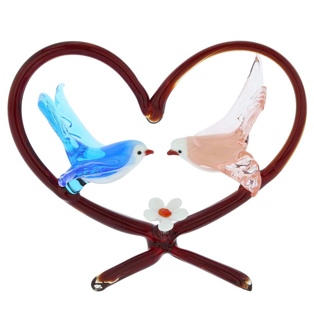 Murano Glass Birds On Red Heart - Blue and Pink