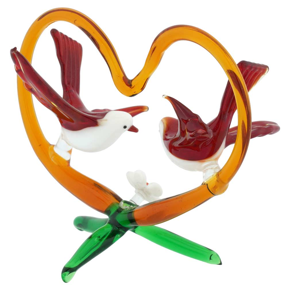 Murano Glass Birds On Red Heart  - Red