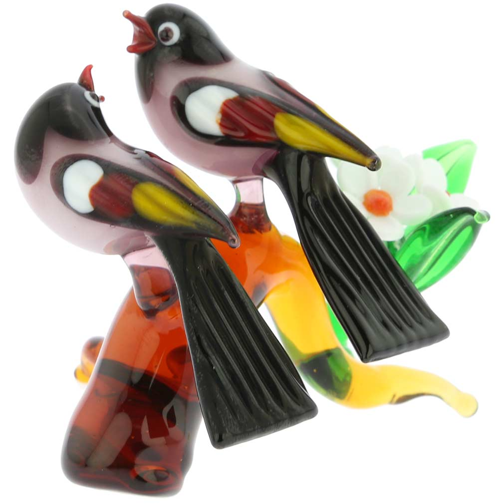 Murano Glass Birds On A Low Branch - Purple