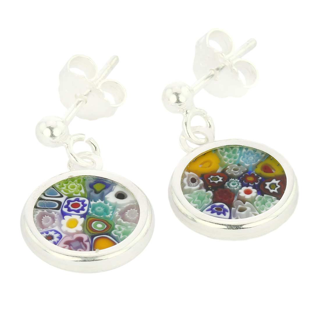 "Silver-Framed Millefiori Earrings ""Multicolor\"""