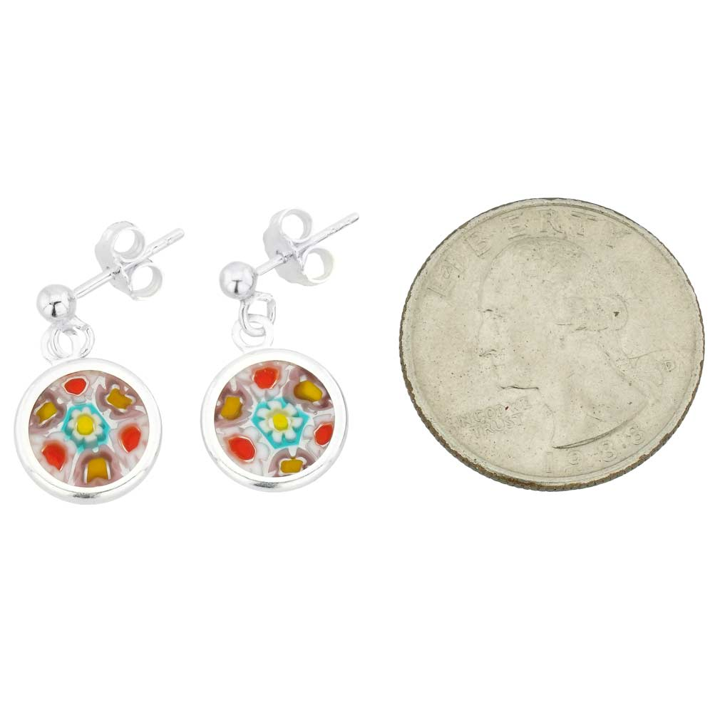 Silver-Framed Millefiori Earrings