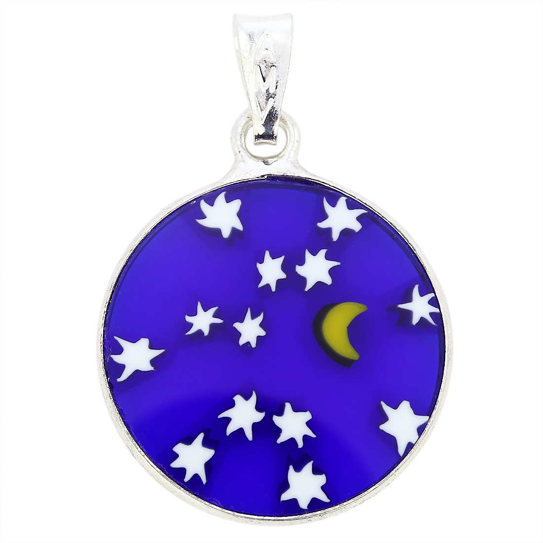 "Small Millefiori Pendant ""Starry Night\"" in Silver Frame 18mm"