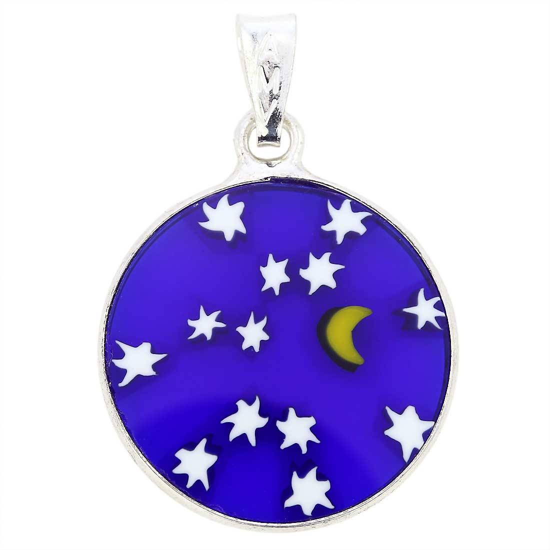 "Small Millefiori Pendant \""Starry Night\"" in Silver Frame 18mm"