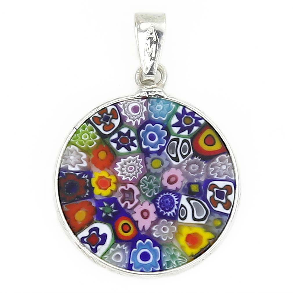 "Small Millefiori Pendant ""Multicolor\"" in Silver Frame 18mm"