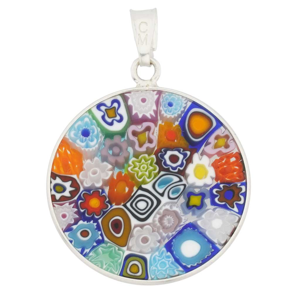"Medium Millefiori Pendant ""Multicolor\"" in Silver Frame 23mm"
