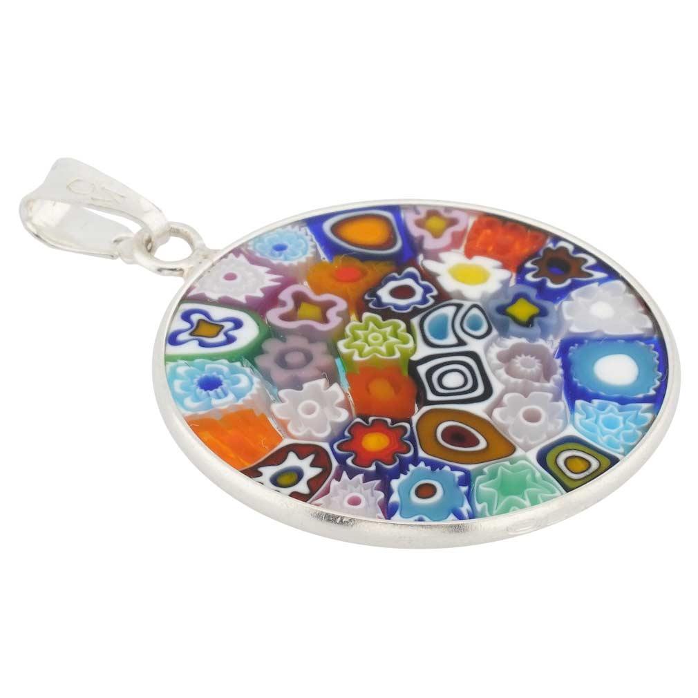 "Medium Millefiori Pendant \""Multicolor\"" in Silver Frame 23mm"