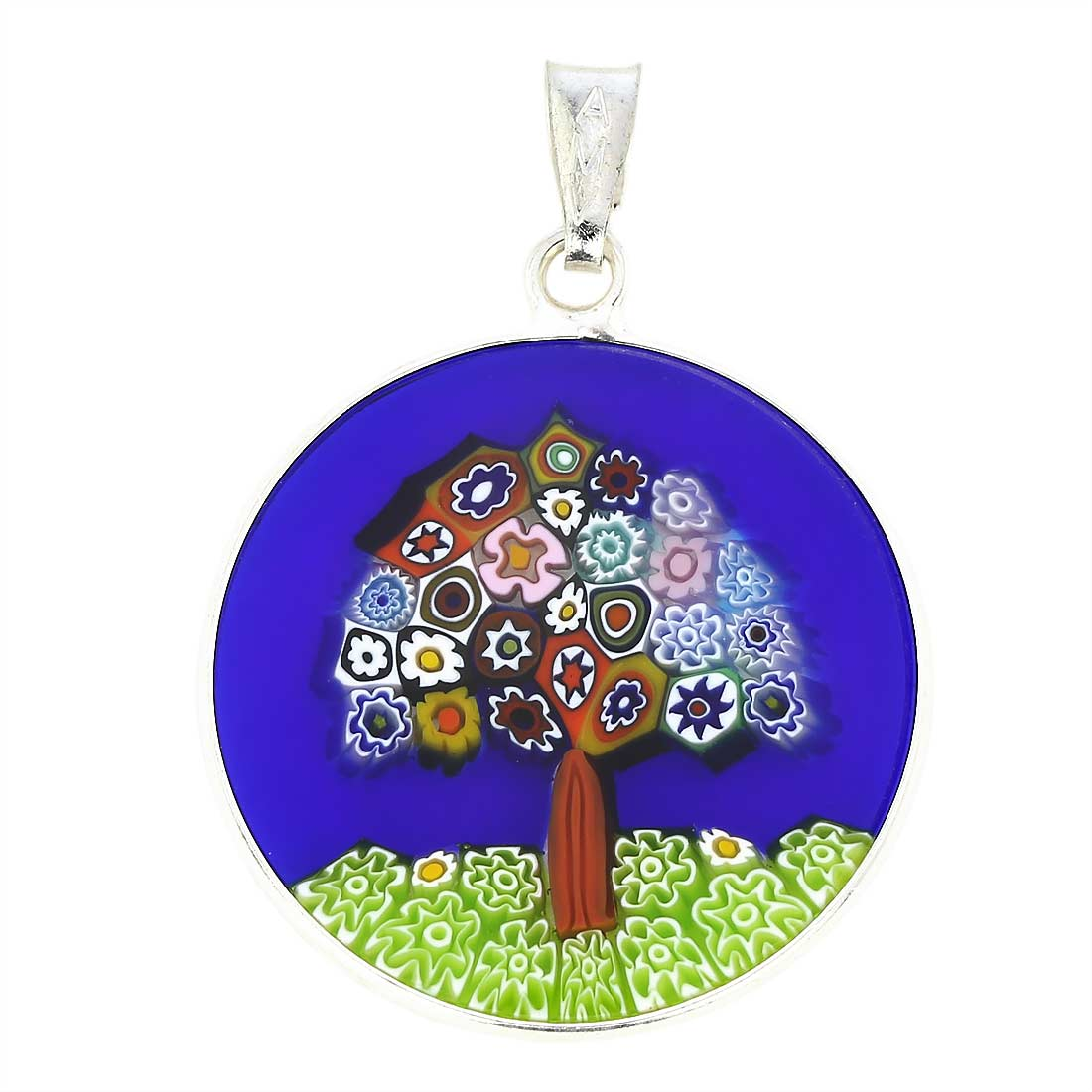 "Medium Millefiori Pendant ""Tree of Life"" in Silver Frame 23mm"
