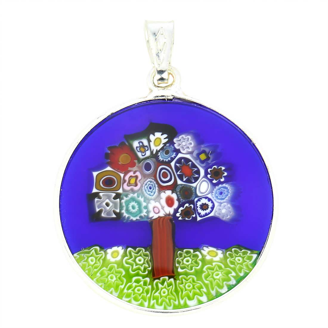 "Medium Millefiori Pendant ""Tree Of Life\"" in Silver Frame 23mm"