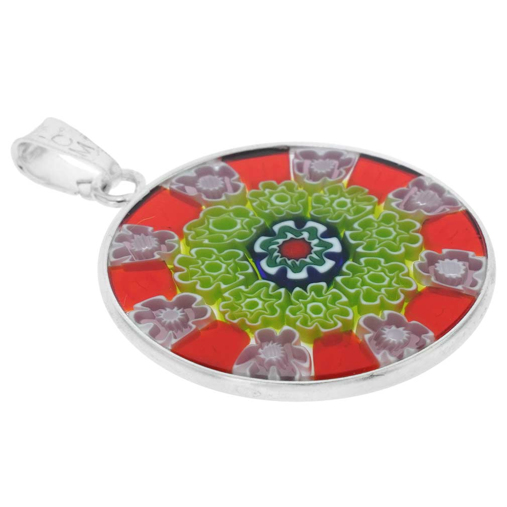 Medium Millefiori Pendant in Sterling Silver Frame 23mm