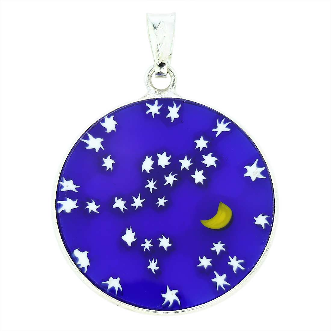 "Medium Millefiori Pendant ""Starry Night\"" in Silver Frame 23mm"