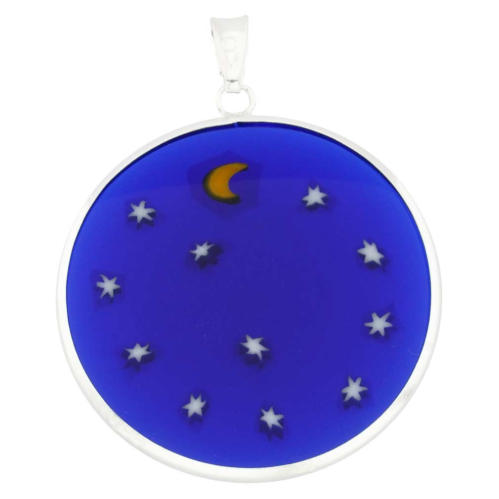 """Large Millefiori Pendant \""""Starry Night\"""" in Silver Frame 32mm"""