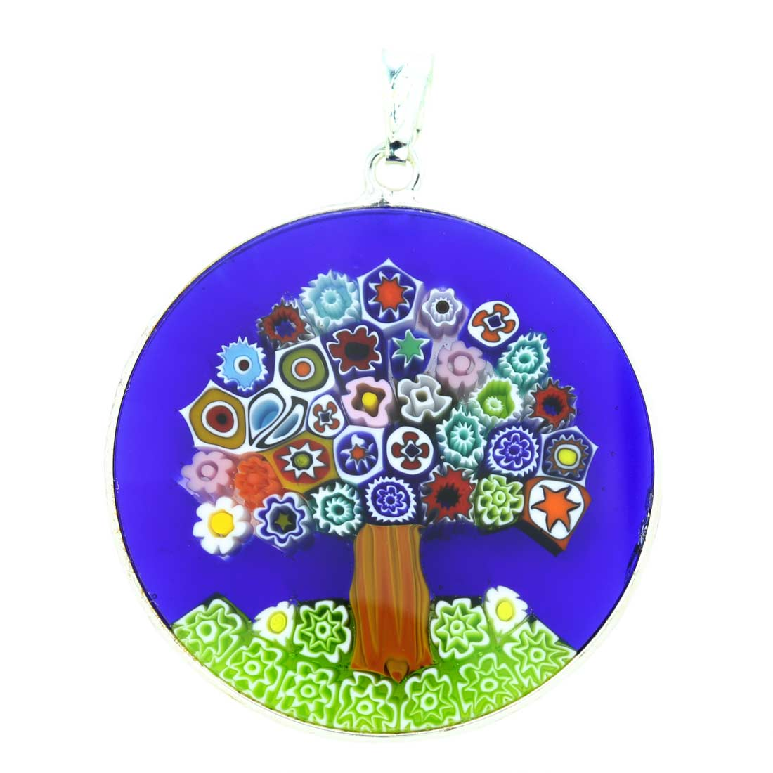 "Large Millefiori Pendant ""Tree Of Life\"" in Silver Frame 32mm"