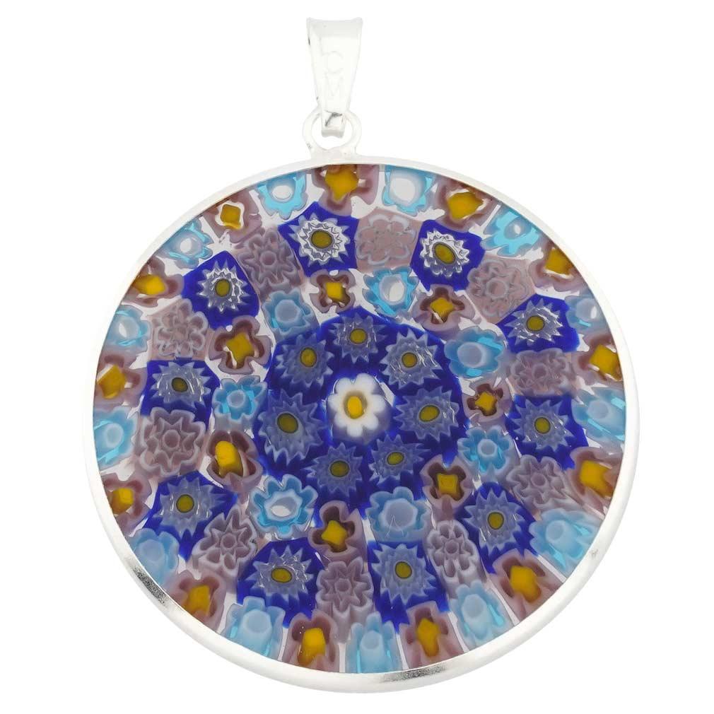 Glassofvenice Murano Glass Millefiori Pendant In Silver