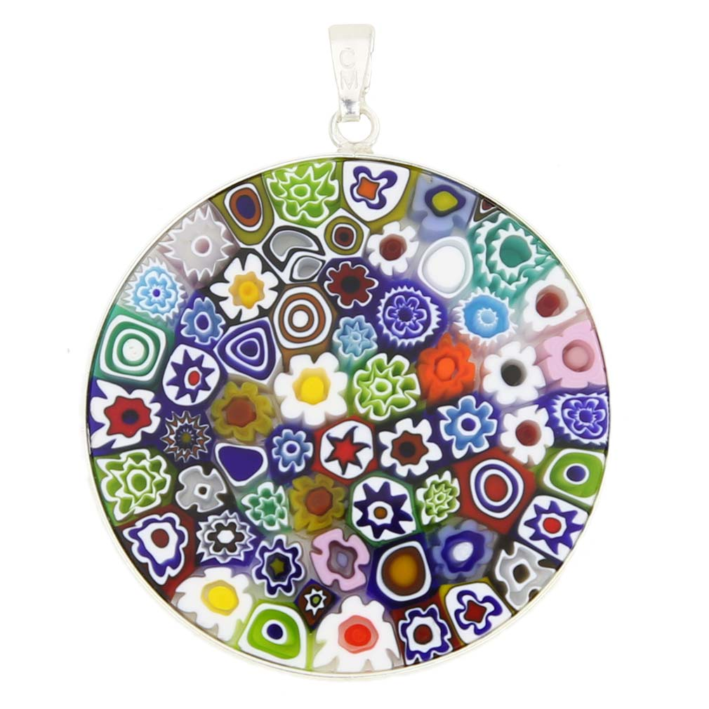"Large Millefiori Pendant ""Multicolor\"" in Silver Frame 36mm"