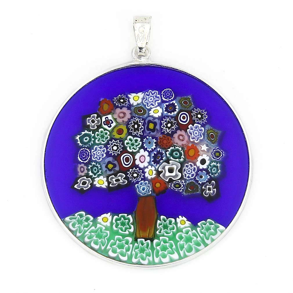 "Large Millefiori Pendant ""Tree Of Life\"" in Silver Frame 36mm"