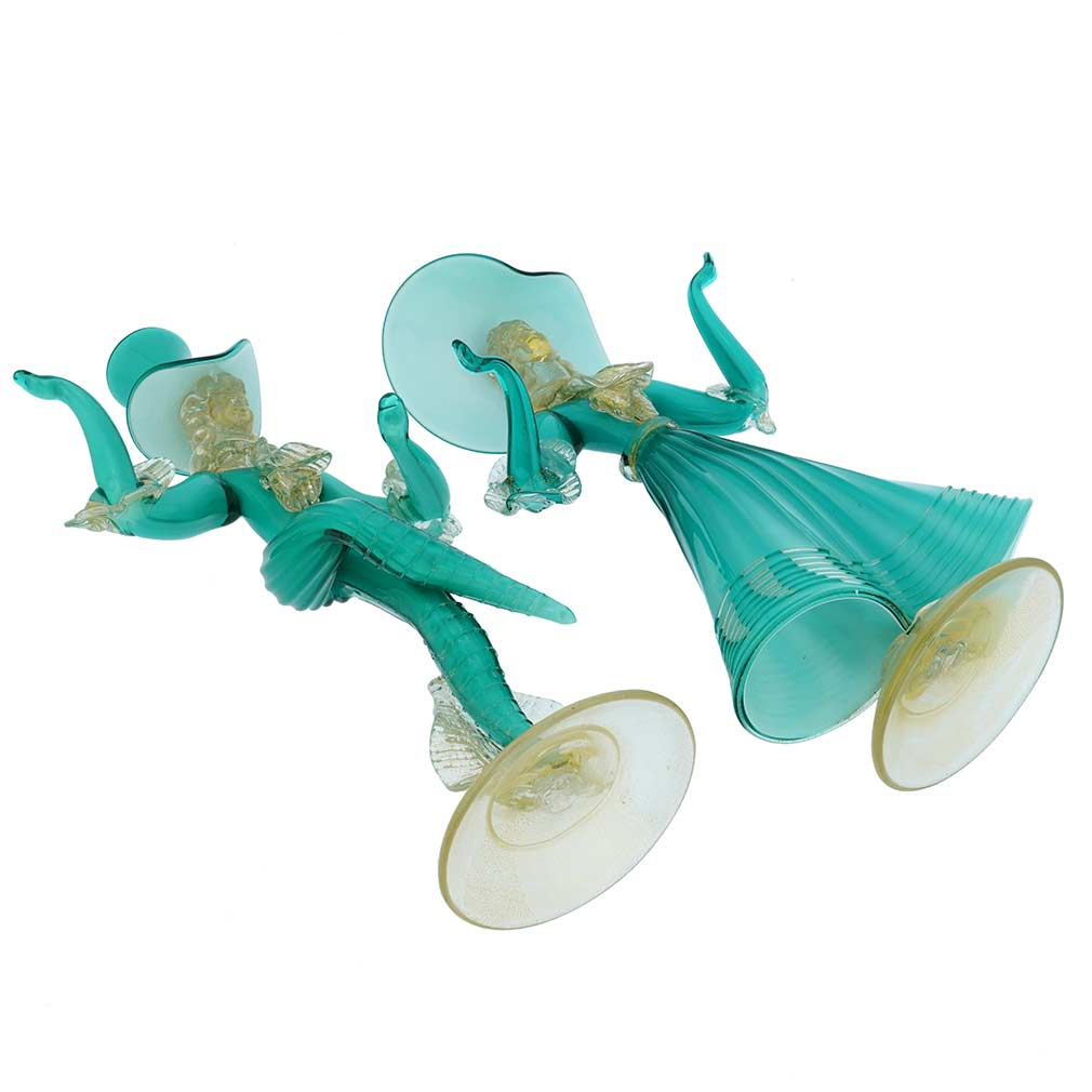 Vintage Venetian Goldonian Couple - Aqua Green