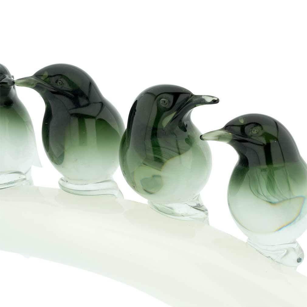 Vintage Murano Glass Six Birds On A Branch by Elio Raffaeli