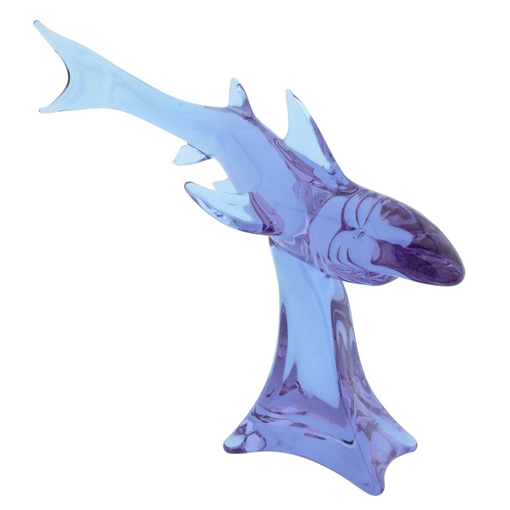Vintage Murano Glass Fish Mid-Century Sommerso Blue Sculpture By Formia