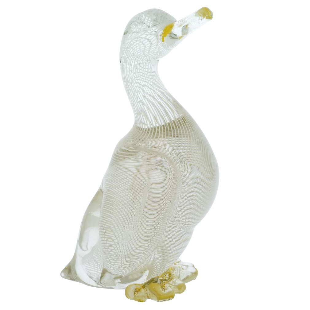 Vintage Murano Glass Filigrana Duck