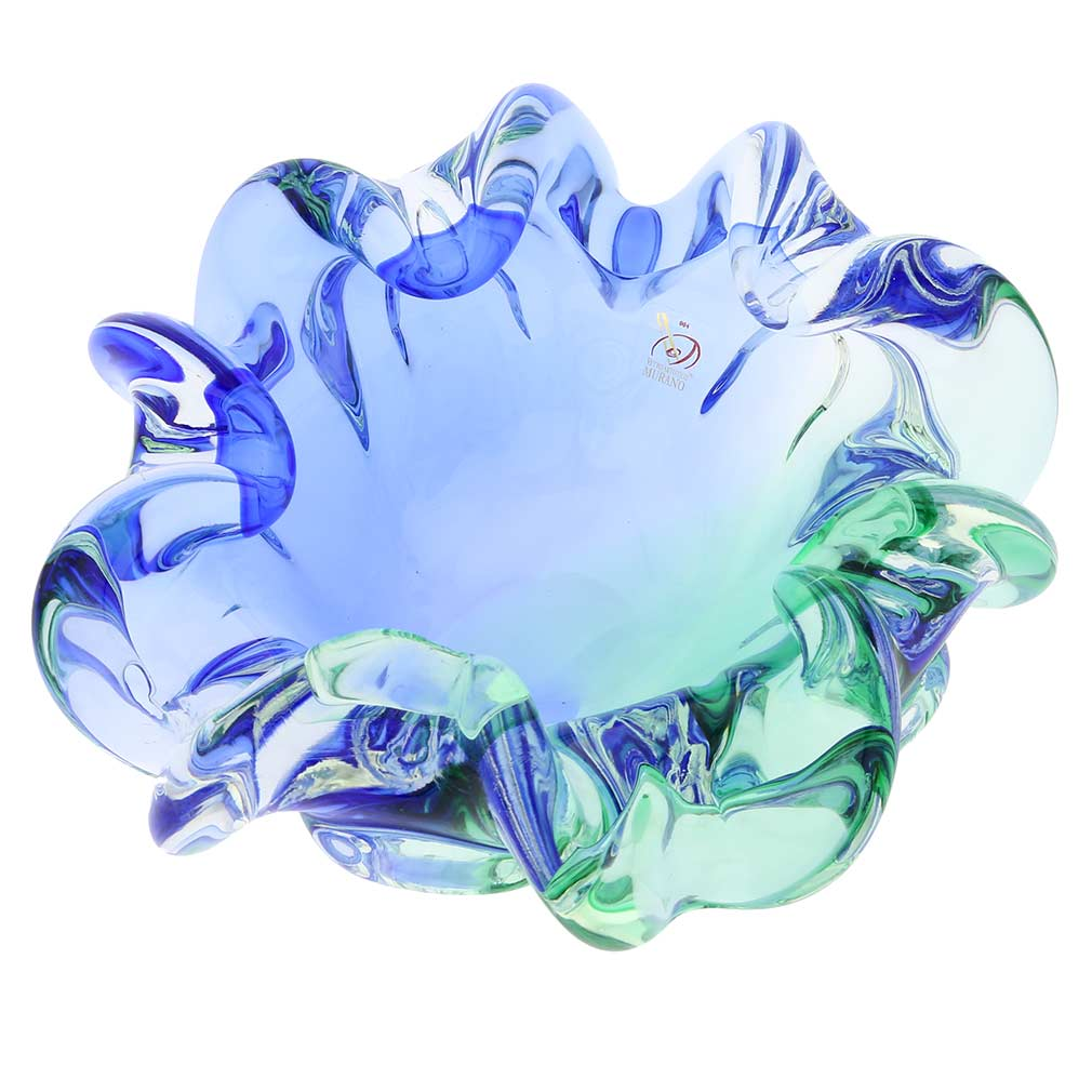 Murano Glass Sommerso Centerpiece Bowl - Green and Blue