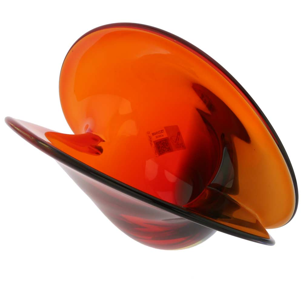 Clam Seashell Murano Glass Bowl - Red Blue Amber