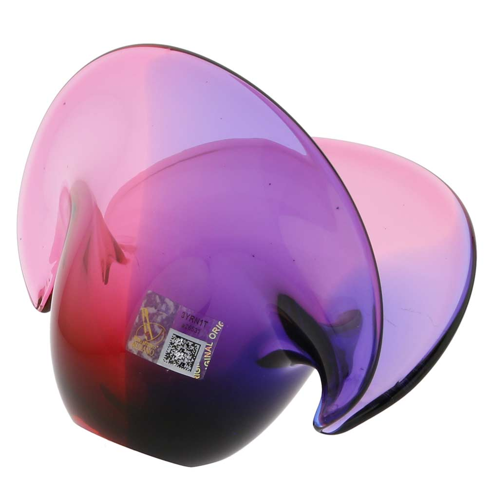 Clam Seashell Murano Glass Bowl - Rose and Blue