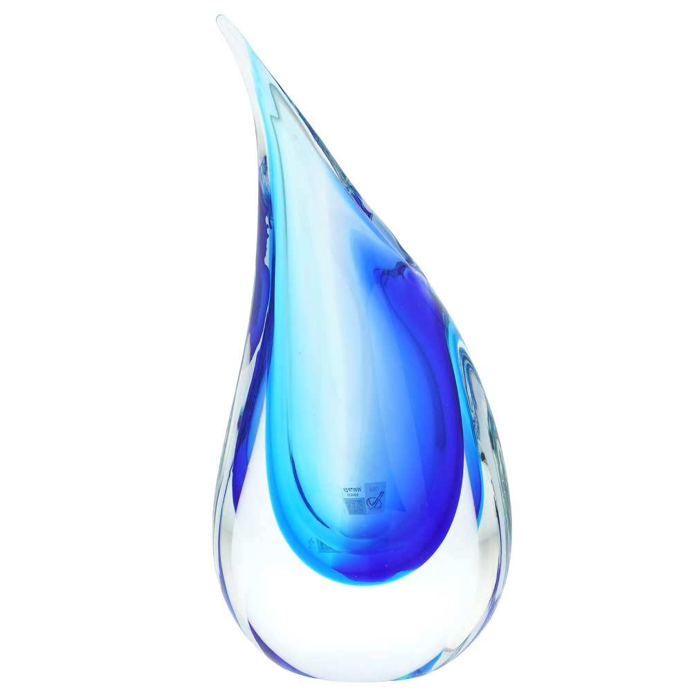 Murano Glass Medium Sommerso Wave Vase - Aqua Blue