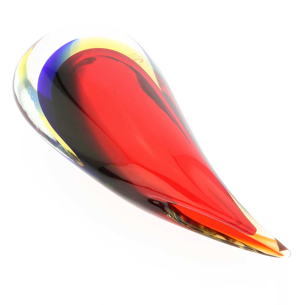 Murano Glass Sommerso Wave Vase -Red Blue Amber