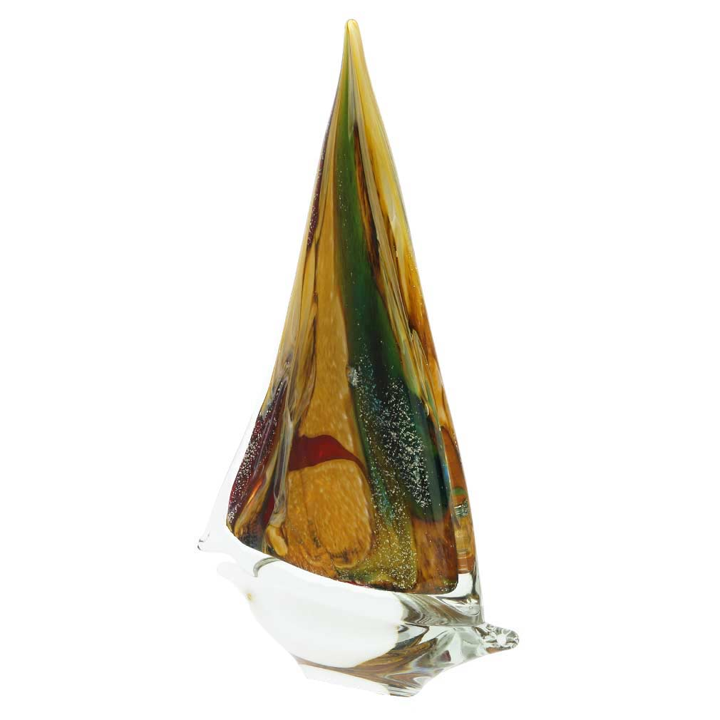 Murano Glass Large Sailboat - Chalcedony