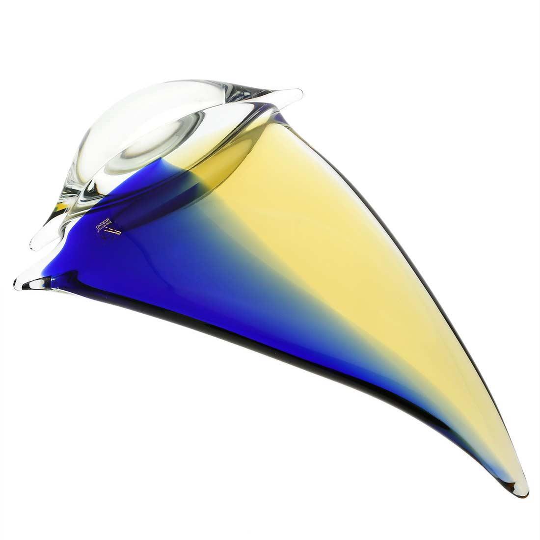 Murano Glass Large Sailboat - Amber Blue