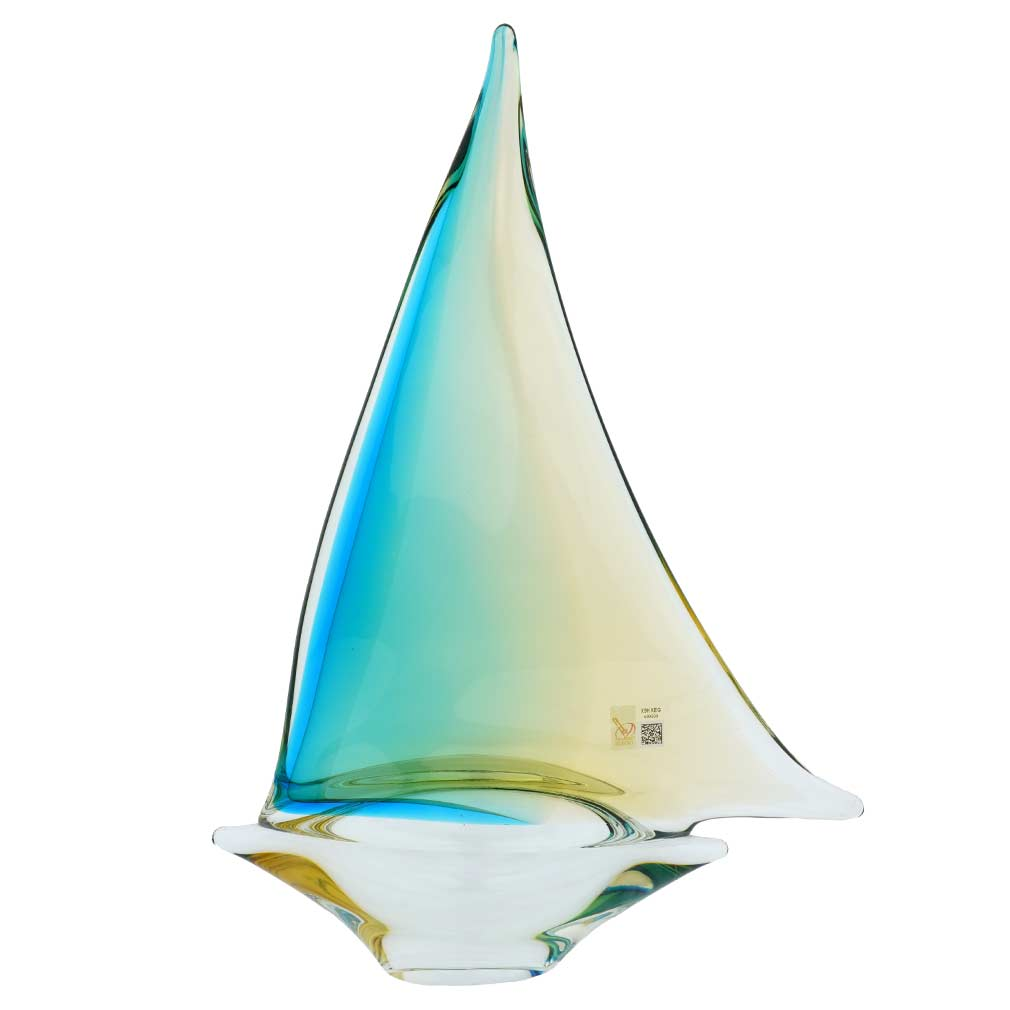 Murano Glass Large Sailboat - Amber Aqua