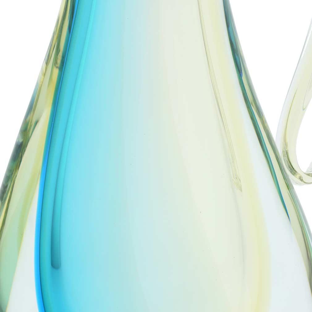 Murano Glass Sommerso Pitcher Vase - Amber Aqua