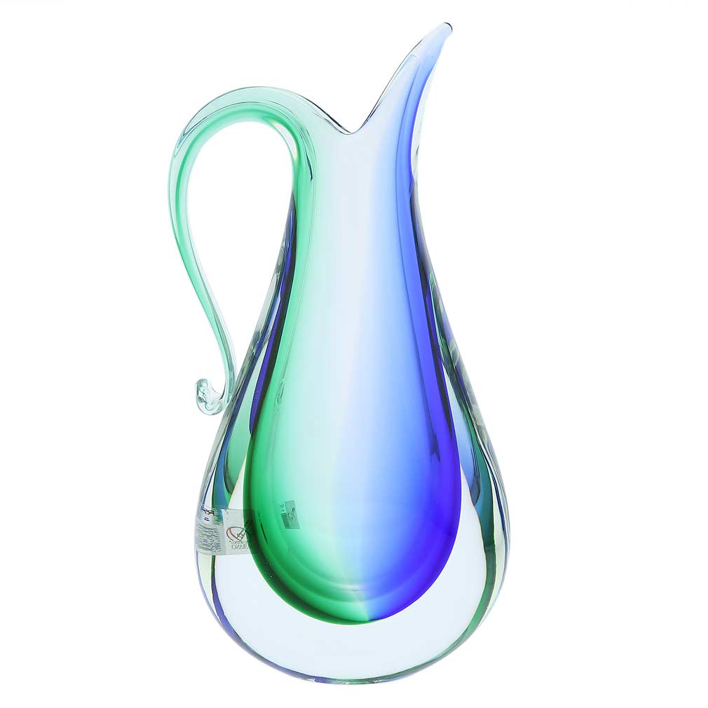 Murano Glass Sommerso Pitcher Vase - Green Blue