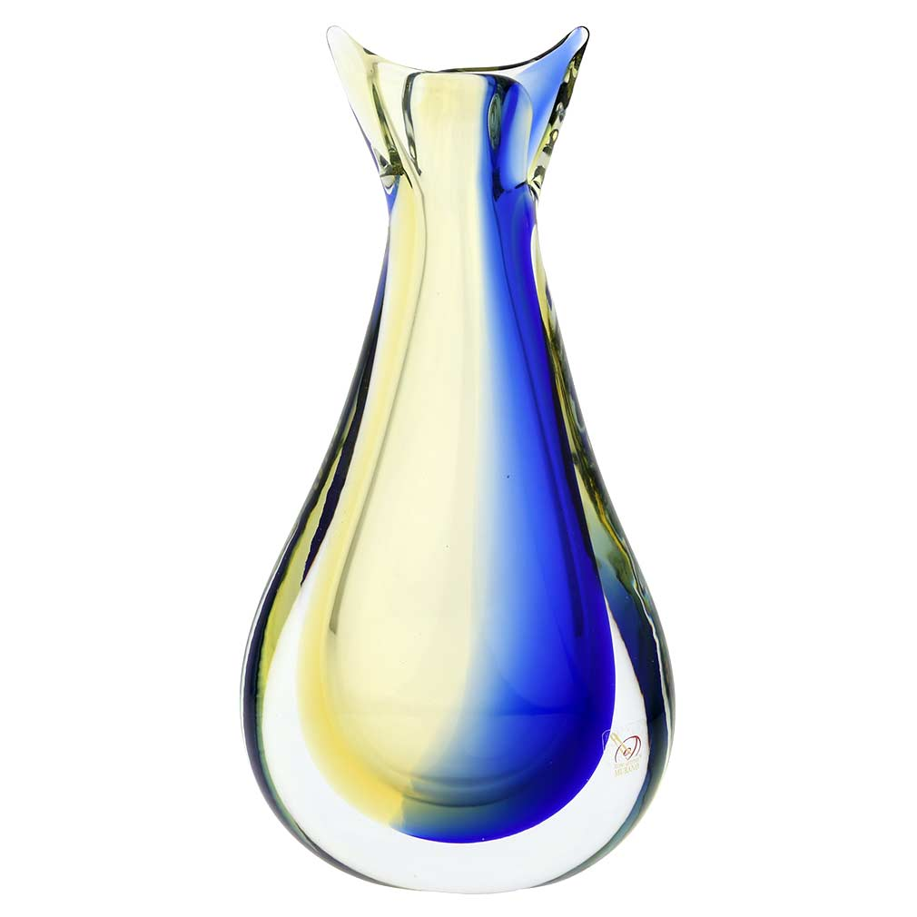 murano sommerso vase amber blue unique glass vases glass of venice. Black Bedroom Furniture Sets. Home Design Ideas